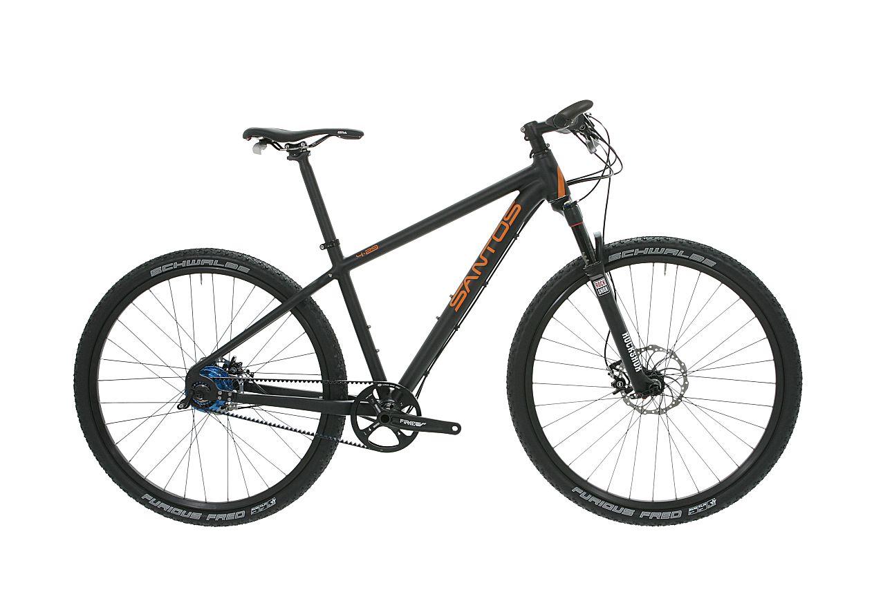 Santos mountainbike 4_29 rohloff riem zwart oranje